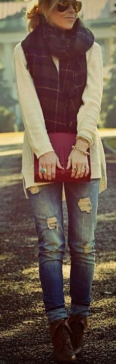 Gorgeous scarf with boyfriend, clutch and booties