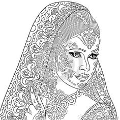 Zentangle Stylized Indian Woman➕Coloring Page ➕More Pins Like This At FOSTERGINGER @ Pinterest ➕