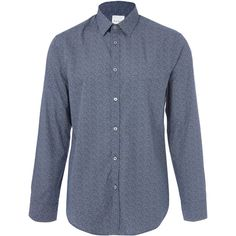 Paul Smith Navy Dot Print Shirt ($240) ❤ liked on Polyvore featuring men's fashion, men's clothing, men's shirts, men's casual shirts, mens navy blue shirt, mens polka dot shirt, mens cotton shirts, old navy mens shirts and paul smith mens shirt