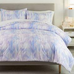 Iris Dream Watercolor Comforter & Sham #pbteen Twin Xl Mattress, Twin Xl Comforter, Teen Bedding, Teen Comforters, Purple Comforter, Cute Bedding, Monique Lhuillier, Watercolor Bedding, Watercolor Painting