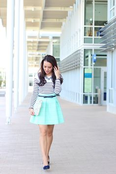 Mint Skirt and Striped Tee (plus Banana Republic and White House Black Market fitting room reviews) - Stylish Petite