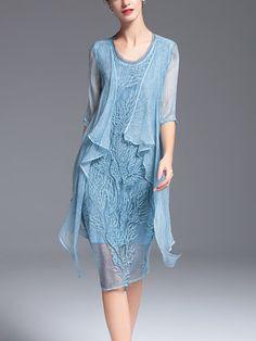 Light Blue Silk Asymmetrical Simple Midi Dress