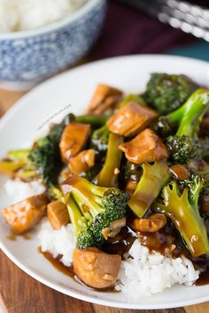 This easy 20-minute teriyaki chicken and broccoli will soon be a favorite in your house! Recipe on tablefortwoblog.com