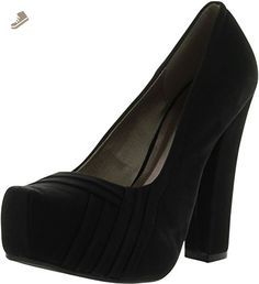 Qupid Trish-25 Thick Heel Pumps, Black Nubuck, 5.5 - Qupid pumps for women (*Amazon Partner-Link)
