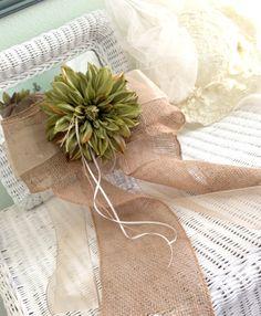 Rustic Ring Bearer Pillow Burlap Dahlia Green by LollysCubbyHole