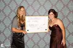 Such a good idea for a photo booth at a reception... dry erase board for guest to write messages! :)