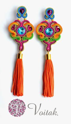 colorful earrings tassel earrings awesome with a white maxi Supernatural Style Soutache Bracelet, Soutache Jewelry, Jewelry Crafts, Jewelry Art, Jewelry Design, Jewellery, Designer Jewelry, Tassel Earrings, Beaded Earrings