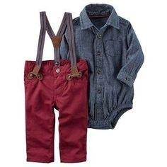 Baby Boy Carter's Chambray Bodysuit & Suspender Pants Set - All things baby - Kids Style Baby Outfits, Outfits Niños, Kids Outfits, Baby Boy Wedding Outfit, Little Boy Outfits, Maternity Outfits, Baby Set, Baby Boy Fashion, Fashion Kids