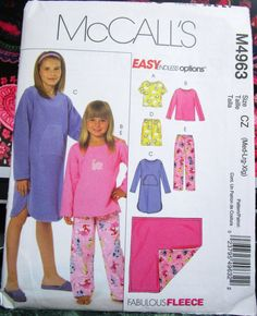 Gown Pants and Blanket Short McCall/'s Patterns M4963 Children/'s//Girls/' Tops