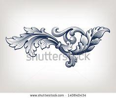 vector vintage Baroque scroll design frame pattern element engraving retro style - stock vector