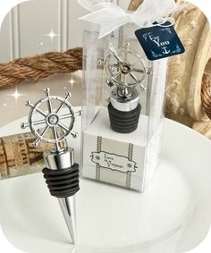 Ship's Wheel Bottle Stopper Favors - Beach Nautical Favors - coupon code is saveme5