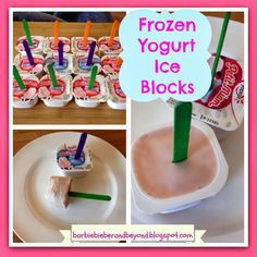 Frozen Yogurt Iceblocks, Such an easy thing to do with a tub of yogurt, great for summer #summerrecipes #icecream #kidsrecipes