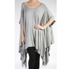 Favorite tunic Chic stylish  grey oversized asymmetrical tunic top PLEASE comment on the size you want and allow me to make you a personalized listing ( when your ready to purchase) BUNDLE AND SAVE 10% Tops Tunics