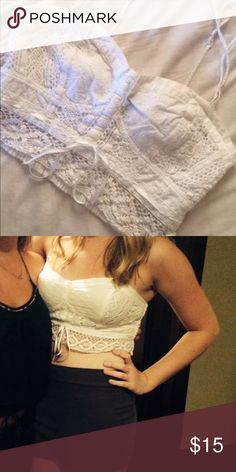 Lace Crop Top Lace Crop Top, super comfortable and goes great with high waisted shorts or jeans! Worn once American Eagle Outfitters Tops Crop Tops