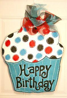 Happy Birthday Party Cupcake Burlap Door by MustLoveArtStudio, $35.00