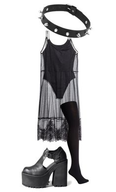 """""""Being goth in the summer can be difficult..."""" by diana-littlefield ❤ liked on Polyvore featuring H&M and Falke"""
