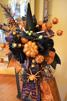 Witch Hat Halloween Lantern Swag by kristenscreations on Etsy
