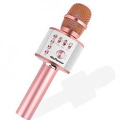 Ankuka Bluetooth Karaoke Microphone, 3 in 1 Multi-Function Handheld Wireless Karaoke Machine for Kids, Portable Mic Speaker Home, Party Singing Compatible with iPhone/Android/PC (Rose Gold): Musical Instruments Best Karaoke Machine, Happy Unbirthday, Android Pc, Smartphone Holder, Stereo Speakers, Birthday List, Bluetooth, Rose Gold, Teen Fashion