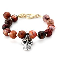 Red Agate and Champagne CZ's Skull Lollie