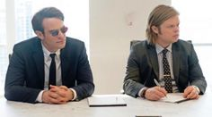 Charlie Cox and Elden Henson as Matt Murdock/Daredevil and Foggy Nelson in Daredevil.