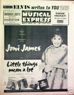 Joni James on the Cover of the New Musical Express - April 1960