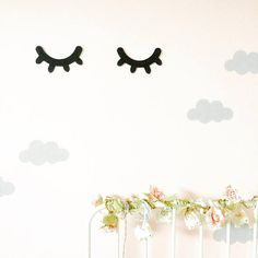 Sleepy Eyes Nursery Wall Decor MDF eyelashes nursery wall