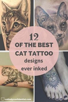 Cat tattoo designs. Click on the picture to see all 12 cat tattoo designs.