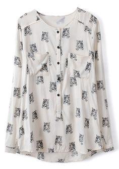 White Long Sleeve Tiger Print Pockets Blouse - Sheinside.com