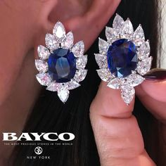 perfectly matched natural Sapphire earrings set with magnificent pear shaped diamonds from Baycojewels White Sapphire Earrings, Sapphire Jewelry, Diamond Jewelry, Diamond Earrings, Stud Earrings, Sapphire Diamond, Sapphire Pendant, Pearl Diamond, Blue Sapphire