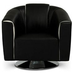 Modern Black Leather Lounge Chair Lewis