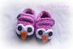 Crochet owl mary jane slipper...LOVE THEM