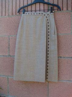 Vintage 40s pencil skirt beige brown neutral Curved tulip waistline Stitching detail. $58.00, via Etsy.