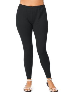 565a227a46d93 Women s Plus-Size Black Stretch Jersey Legging (Just My Size)  fashion