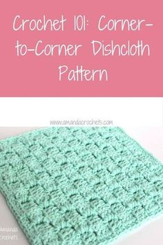 Easy Crochet Patterns corner-to-corner dishcloth pattern ~ FREE - CROCHET - In today's Crochet 101 lesson, I'm sharing my corner-to-corner dishcloth pattern. This free pattern not only works up quickly, but has a nice texture to it. Crochet Hot Pads, Crochet Towel, Easy Crochet, Knit Crochet, Free Crochet, Crochet Scrubbies, Crochet Ideas, Spiral Crochet, Double Crochet