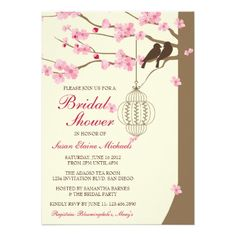 d76b706b93d2 Love Birds Vintage Cage Blossom Bridal Shower Personalized Announcements  Summer Wedding Invitations