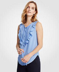 82d90ef13 ANN TAYLOR TALL PINTUCKED RUFFLE BIB SHELL. #anntaylor # Summer Tops,  Fashion Brand