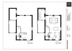 Keukenontwerp Alblasserdam | onafhankelijk keukenadvies | Huis & Interieur. Op de linkertekening is de oude indeling van de keuken te zien. De rechtertekening is het ontwerp van Huis & Interieur.