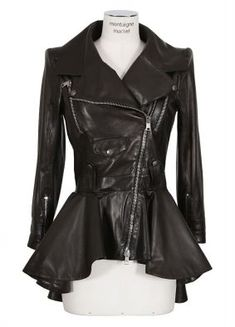 Alexander McQueen Jacket :: Alexander McQueen black leather ruffle biker jacket | Montaigne Market