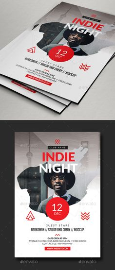 Indie Flyer Design Template - Concerts Events Flyer Design Template PSD. Download here: https://graphicriver.net/item/indie-flyer/18828314?ref=yinkira