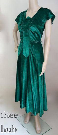 Velvet Gown | 1930s Green Velvet Dress | All The Dresses