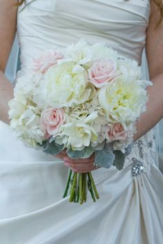 White roses, white hydrangeas, pink roses, dusty miller bouquet!