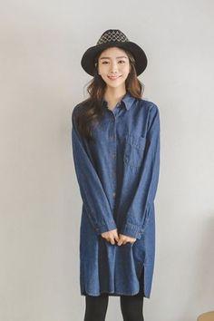 Bider Denim Long Dress | Korean Fashion