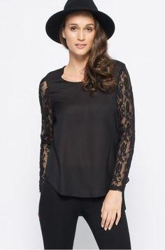 Bluza dama voal cu maneci din dantela neagra Ruffle Blouse, Tunic Tops, Long Sleeve, Casual, Sleeves, Women, Fashion, Moda, Long Dress Patterns