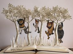 Based on the children's picture book by American writer and illustrator Maurice Sendak. Where The Wild Things Are Maurice Sendak, Origami, Libros Pop-up, Wolf Costume, Book Sculpture, Children's Picture Books, Old Books, How To Make Paper, Altered Books