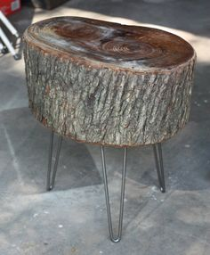 You guys, we made a table from a slice of tree stump, no joke! We mentioned tackling a DIY project we were pretty excited about weekend . Make A Table, Diy Table, Wood Table, Wood Stumps, Wood Logs, Tree Stumps, Tree Stump Furniture, Log Furniture, Tree Stump Side Table