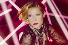 Gwyneth Paltrow Is Madonna, Audrey Hepburn, & More Icons For Max Factor #refinery29  http://www.refinery29.com/2014/07/70540/gwyneth-paltrow-beauty-icon-photos#slide4  That '80s show: Black lace, tons of neck adornment, and a neon lip. Now, vogue.