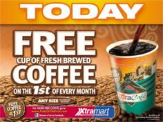 FREE Cup of Coffee at Xtra Mart Today on http://www.icravefreebies.com/