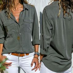Women casual solid long sleeve vneck long section slim casual turn down collar pockets button front shirt tops roupas - Women Long Sleeve Shirts - Ideas of Women Long Sleeve Shirts Shirts & Tops, Casual Shirts, Women's Casual Tops, Button Down Shirt Outfit Casual, Long Shirt Outfits, Mein Style, Casual Work Outfits, Blouse Outfit, Look Fashion