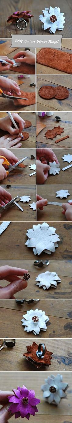 Here is a tutorial for how to make a DIY Leather Flower Ring!  http://www.weddingwindow.com/blog/2012/07/30/diy-leather-flower-rings/