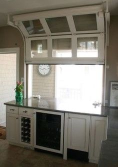 Pass thru window---Architectural Details - traditional - kitchen - new york - Rice and Brown Architects Relaxing Outdoor Kitchen Ideas for Happy Cooking & Lively Party Glass Garage Door, Garage Doors, Diy Garage, Garage Ideas, Garage Bar, Garage Windows, Garage Signs, Sliding Doors, Glass Door